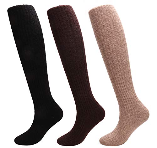 Thick Warm Wool Knee High Socks Womens Winter Knit Long Boot Socks 3 Pairs W661 (black+khaki+coffee)