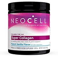 NeoCell Super Collagen Powder, French Vanilla 7oz, Non-GMO, Grass Fed, Paleo Friendly, Collagen Peptides Types 1 & 3 for Hair, Skin, Nails and Joints, Add to Coffee & Smoothies, 26 Servings