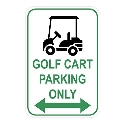 Double Sign Arrow (Golf Cart Parking Only Double Arrow Sign (Green), Includes Holes, 3M Quality Reflective Aluminum, 12