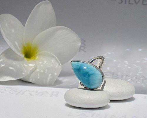 Larimar ring by Larimarandsilver, ring size 7, Caribbean blue Larimar pear, sapphire blue, deep blue, azure, handmade ring – AZ056