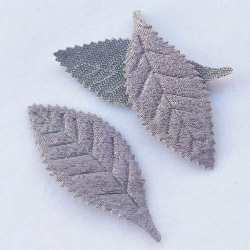 FidgetKute 50pcs Leaf Padded Felt Appliques Craft Gift Decor 5 Colors A0818 Gray