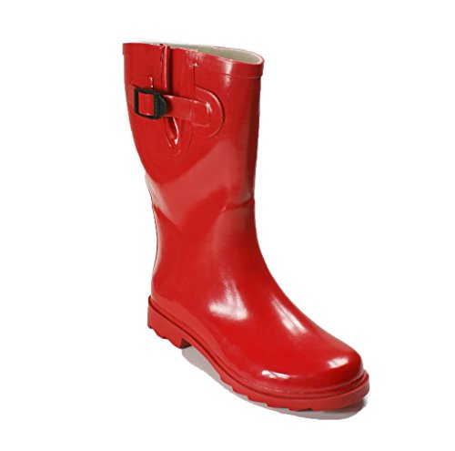 OwnShoe Womens Mutiple Styles Rain Snow Winter Flat Rubber Mid Calf Short Rainboot, Red, 8 D(M) US