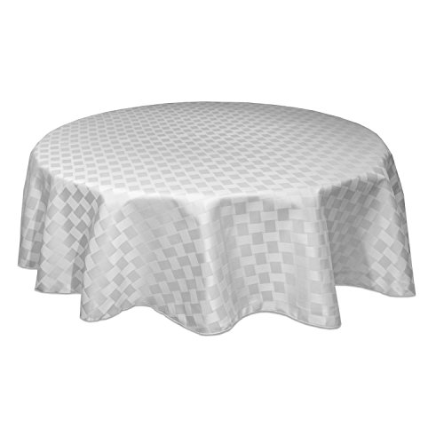 Oval Tablecloth White - Bardwil Reflections Spill Proof  Oval Tablecloth, 60 X 84-Inch, White