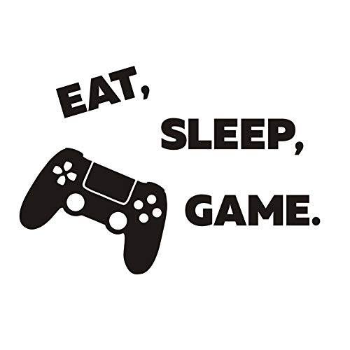 (Arttop Eat Sleep Game Wall Decal,Video Gamer Wall Sticker,Joystick Gamer Decor for Playroom, Children Gift Nursery Boys Room Wall Vinyl Decal Lettering Stickers Home Decor )