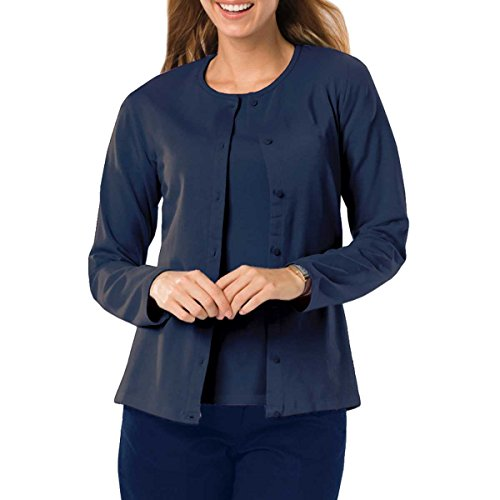 Amy Alder Womens Classic-Fit Basic Button-Front Cardigan, Navy, M