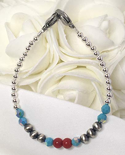 Navajo Pearl Sterling Silver Red Coral w/Swarovski Turquoise Medical ID Alert Replacement Bracelet! (MA102)