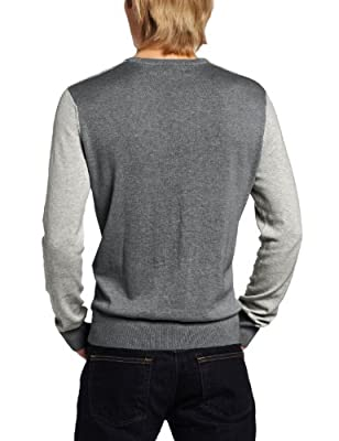 Calvin Klein Men's Color Blocked Striped V-Neck Sweater