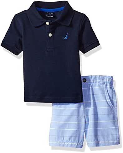 Nautica Baby Boys Solid Polo with Pattern Pull on Short Set