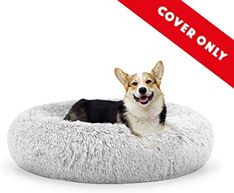 The Dog s Bed Sound Sleep Donut Dog Bed Spare Cover, Medium Ice White Plush