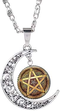 Inveroo Mysterious Dark Magic Pentagram Necklace Satanism Symbol Glass Cabochon Gem Moon Pendant Statement Handmade Long Necklace
