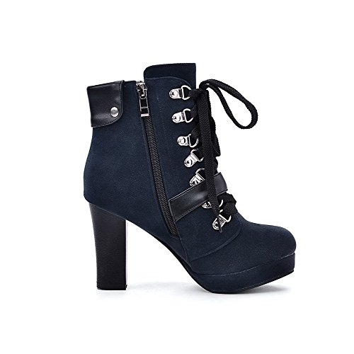 AgooLar Women's Imitated?Suede Low-top Solid Chains High-Heels Boots Blue E74LqFrM