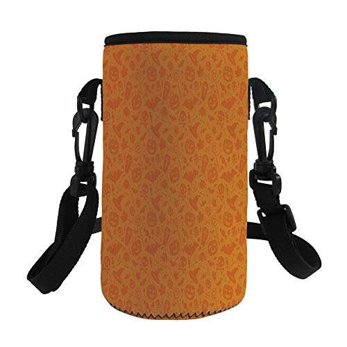 Small Water Bottle Sleeve Neoprene Bottle Cover,Halloween Decorations,Monochrome Design with Traditional Halloween Themed Various Objects Day,Orange,Great for Stainless Steel and Plastic/Glass Bottles