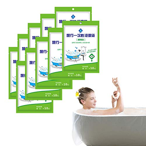 10Pc Ultra Large Disposable Film Bathtub Lining Bags 102x47 - Portable Disposable Bath Tubs for Traveling/Hotel Bath Tubs/Household /Salon/SPA (Individual Package)