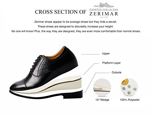ZERIMAR Elevator height increasing elevator shoes for men Add +2,7 inches to your height Quality Eco skin-gomatto shoes Size:: US 9.5 - EU 42 Made in Spain by Zerimar (Image #5)