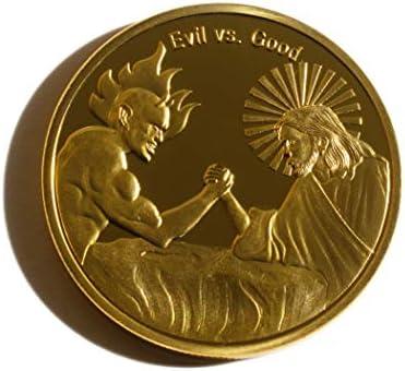 Moneda conmemorativa chapada en oro, el mal contra el bien, en ...