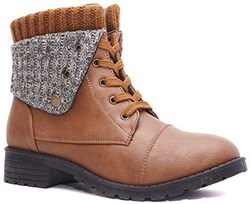 Charles Albert Knit Cuff Combat Boot Fold-Over Low Heel Mid-Calf Booties (11 M US, Brown)