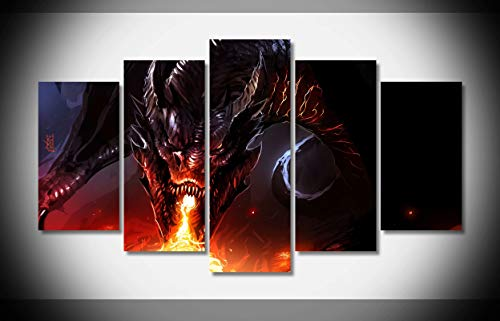 Canvastyle 5pcs Dragon Fire Smaug The Hobbit LOTR Lord Artwork Stretched and Framed Modern Canvas Wall Art