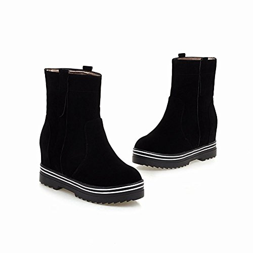 Mee Shoes Damen chunky heels kurzschaft runde hidden heel Stiefel Schwarz
