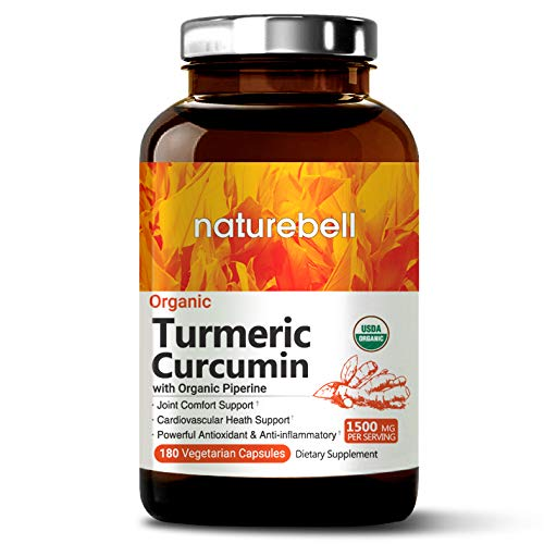 Organic Turmeric Curcumin 1500mg, 180 Veg Capsules, with Black Pepper Exact, Antioxidant & Anti-inflammatory for Joint Pain Relief, Non-GMO, Vegan Friendly and Made in ()