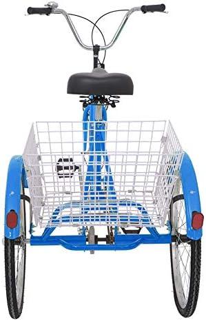 DoCred - Cesta de bicicleta de 26 pulgadas para adultos, serie de 7 velocidades, 3 ruedas, para adultos, triciclo, bicicleta de crucero, tamaño grande, para recreación, compras, ejercicio, bicicleta para hombre y
