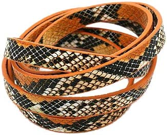 CHGCRAFT 10 hebras Cordón de Cuero de PU DarkOrange Imitación de Piel de Serpiente Cordón de Cuero para Collar DIY Pulsera Fabricación de Joyas 10x2 mm