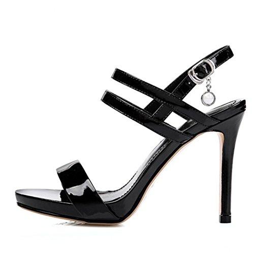 Party Toe Work Black High Leather Evening Heels Banquet Ankle Ladies Womens Heels Open Strap Dress Shoes Sandals Pumps GAOLIXIA Stiletto q4gBwxOTA
