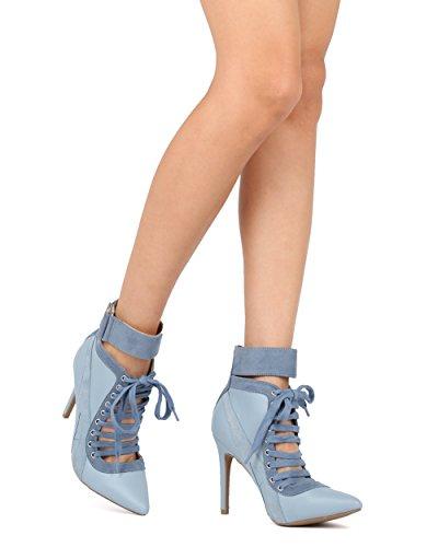 Alrisco Vrouwen Puntige Teen Lace Up Enkel Manchet Streep Corset Stiletto Enkellaars - Hf14 Door Wild Diva Collectie Blauw / Grijs Kunstleer