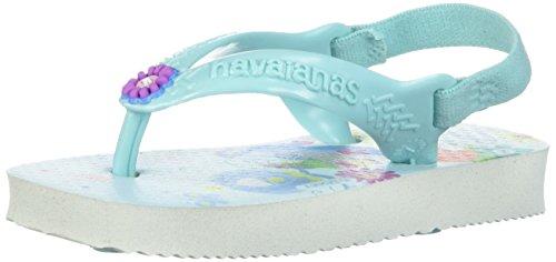 Girls Slingback - Havaianas Baby Disney Princess Sandal (Infant/Toddler),White/Ice Blue,23/24 BR (9 M US Toddler)