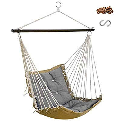 Lazy Daze Hammocks Hanging Rope Hammock Chair Swing Seat with Hanging Rope and Hook, Weight Capacity 300 Lbs, for Indoor and Outdoor, Gray -  - patio-furniture, patio, hammocks - 41DWHQB0JLL. SS400  -