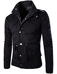 Men's Fall Slim Fit Trench Thick Military Rider Jacket SR708