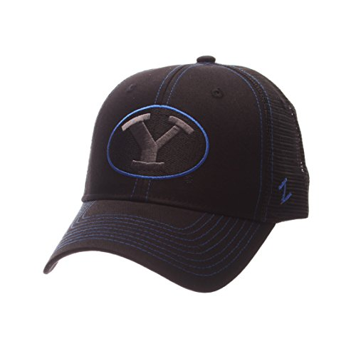 Zephyr NCAA Byu Cougars Adult Men's Staple Trucker Blackout Cap, Adjustable Size, Black