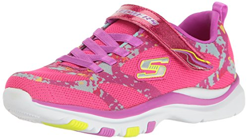 Skechers Kids Girls' Trainer Lite-Bright Racer Sneaker,Neon Pink/Purple, (Girls Trainers Childrens)
