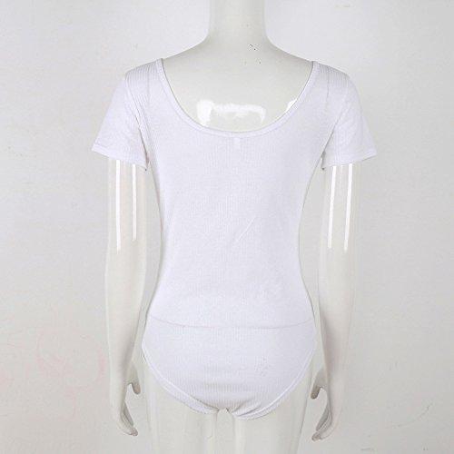 Tops Bianco Corta Bodysuit Moda Body Estivi Donna Casual Slim Colore Senza Schienale Con Eleganti Lacci Fit Scollo Manica V Puro zqzwH7t