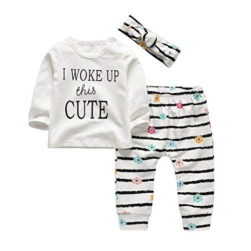 3Pcs Baby Girl Outfits Set I Woke Up This Cute Long Sleeve T-Shirt Tops Flowers Pants with Headband (0-6 Months)