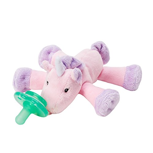 Nookums Paci-Plushies Unicorn Shakies - Pacifier Holder and Rattle (2 in 1) (Plush Toy Includes Detachable Pacifier, Use with Multiple Brand Name Pacifiers) ()