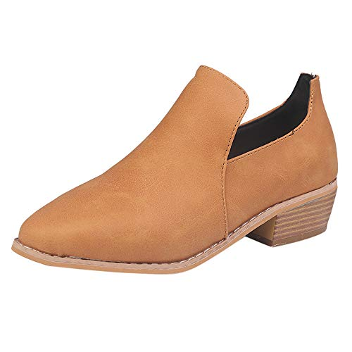 TIFENNY Women's Fashion Shallow Mouth Leather Ankle Shoes Spring Roman Short Boots Bootie Single Shoe Brown