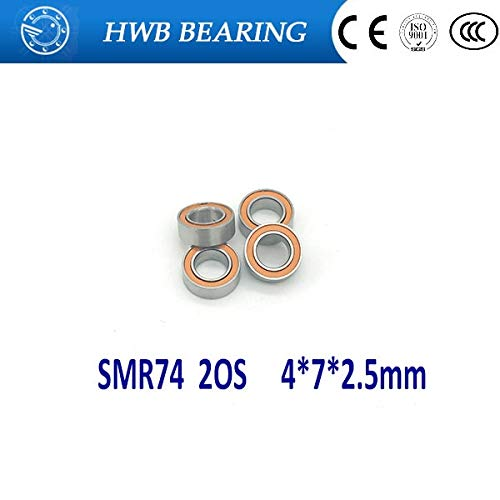 Ochoos 4pcs 4x7x2.5 Hybrid Ceramic Stainless Oiled Bearing SMR74C 2OS A7 Fishing Vessel Bearings SMR74 2OS SMR74-2RS