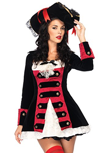 Leg Avenue Women's Charming Pirate Captain Costume, Black/Red, Medium -