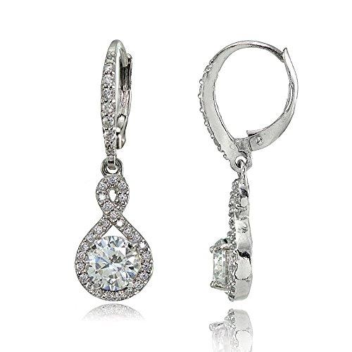 Sterling Silver Cubic Zirconia Infinity Dangle Leverback Earrings