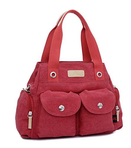 KISS GOLD(TM) Leisure Canvas Hobo Tote Handbag Single Shoulder Bag(Red)