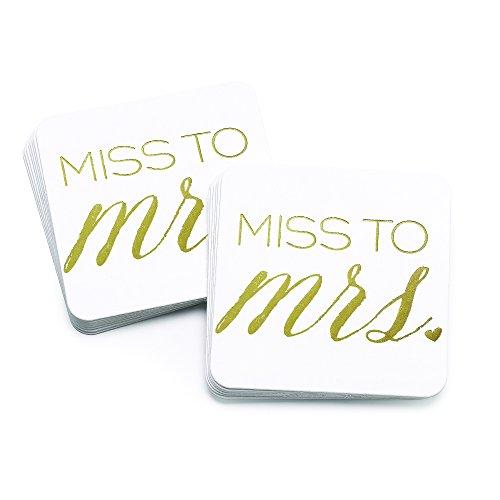 (Hortense B. Hewitt Bachelorette/Shower Paperboard Coasters, 4-Inch, Miss to Mrs,)