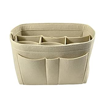 Jiyaru Travel Insert Handbag Cosmetic Organiser Purse Makeup Bag Tidy Pouch Beige S
