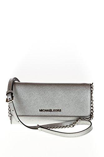 Nuova collezione Accessori Donna MICHAEL KORS portafoglio in pelle saffiano, tracolla regolabile, chiusura con bottone a pressione, tasca interna con zip, multitasche, logo a vista