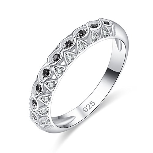 Psiroy 925 Sterling Silver Created Black Spinel Filled Half Eternity Ring Stacking (Half Eternity Ring Band)