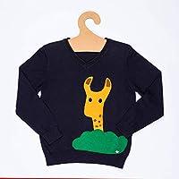Suéter Jirafa para niño, de 4 a 5 años, Color Azul Marino, Aplicación Bordada a Mano, Pieza Unica, Ropa niño, Regalo niño
