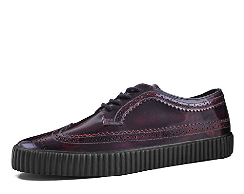 T.U.K. Shoes A9249 Unisex-Adult Creepers, Burgundy Rub Off EZC Brogue Shoes - US: Men 12 / Women 14