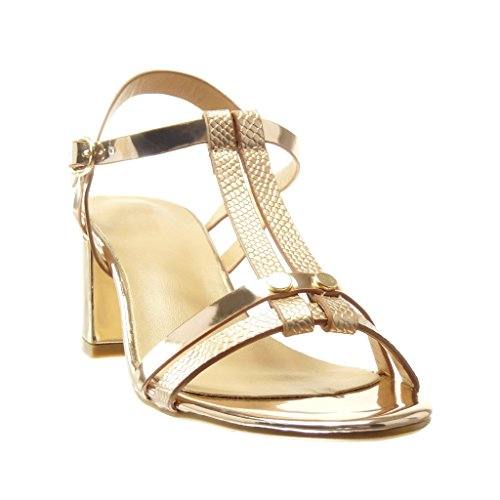 Angkorly - damen Schuhe Sandalen Mule - T-Spange - Schlangenhaut - String Tanga - Nieten - besetzt Blockabsatz high heel 6 CM - Champagner