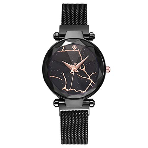 Women Watches Fashion Unique Vibrating Crack Dial Designer Watch Waterproof Steel Mesh Band Quartz Analog Wristwatch ()