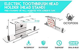 OCTOPODIS Stainless steel electric toothbrush holder & electric toothbrush heads holder (HEAD STAND), compatible with Oralb Braun, adhesive or