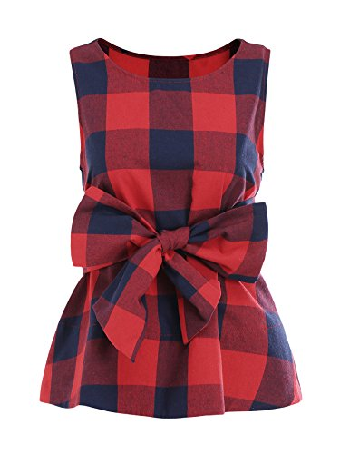 WDIRARA Women's Sleeveless Belted Checkered Shell Top Blouse Red M